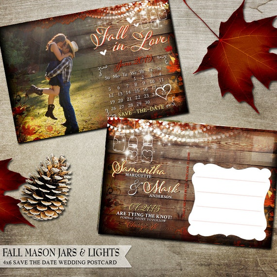 Printable Rustic Fall Save the Date Postcard Calendar Fall Leaves ...