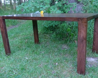 Thick Walnut Parsons Table with Breadboard Ends