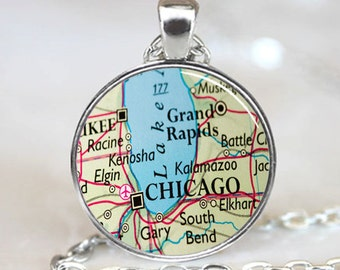 Chicago Illinois Map Pendant, Chicago Necklace, Map Necklace (PD0806)