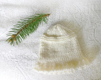 White Preemie Hat- Cream- Hand Knitted  Baby Hat- Small Baby Beanie- XS- Charity Donation- Premature Infant Cap
