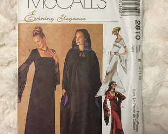 McCalls Misses Dress Gown Cloak Cape Costume Sewing Pattern M2810 Size 8 10 12 UC Uncut FF Gothic Medieval