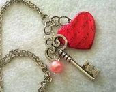 Red Heart Necklace Wife Gift Girlfriend Gift Key and Heart Necklace Charm Necklace Valentine gift  gift for wife gift for mom,