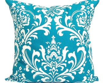 Turquoise Pillows.ALL SIZES.Decorative Pillow Cover.Home Decor.Housewares.Floral. Damask.Turquoise Sham.Turquoise Euro.Cushion.Cm.Turquoise