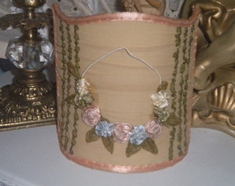 Gorgeous Vintage Inspired Ribbon Roses lamp Shade, Victorian, French, French Country,Hollywood Regency,Victorian