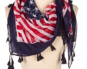 American Flag clothing Scarf,Red White Blue,4th of july outfit,  USA  Flag Scarf ,Patriotic Scarf, July 4th ,Memorial day, stars and stripes