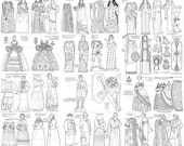 Famous Women in History Coloring Book Printable Vintage Paper Dolls Digital Download Cleopatra Joan of Arc Colouring Page Collage Craft