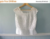 ON SALE Gorgeous 1960's vintage lace bodice / sleeveless blouse  with peplum / The Knitwear House Huppert, London