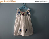 ON SALE Vintage peasant dress / boho summer dress with embroidered flowers / baby girl 6 to 12 months /1 yr.