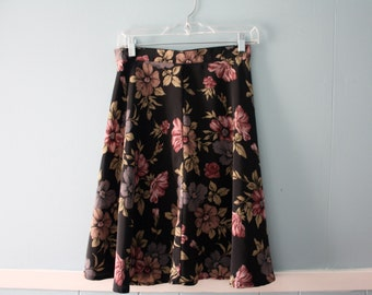 Vintage high-waisted floral print skirt / Flared mini-skirt / Size xs to small