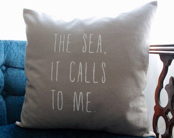 the sea pillow cover | tan and white | nautical pillow | coastal cottage