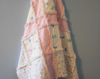 """Baby Rag Quilt, Baby Girl, Baby Bears, Moon and Stars, Quilt Blanket, Crib Quilt, Cotton Flannel, Baby Shower, Patchwork Quilt 30"""" x 39"""""""