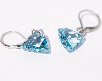 Aqua Earrings, Dangle, Blue, Triangle, Aquamarine, Handmade Jewelry, Silver Leverback, Swarovski, Crystal, Birthday Gift Friend