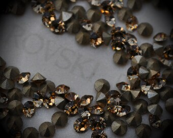 Xilion 1028 16pp Genuine Swarovski Crystals Light Colorado Topaz Rounds Foiled Rhinestones 144pcs 1 Gross