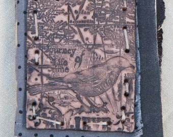 OOAK hand made Journey of a lifetime- Bird image polymer plate covered Art Journal