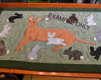Custom Made Hooked Rug of your Home, Pet, Family Artwork, Etc.