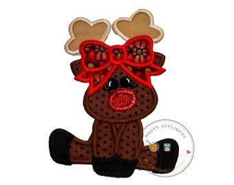 Girl Rudolf the red nose reindeer fabric iron on applique, Embroidered Christmas holiday girl reindeer patch, Reindeer iron on ready to ship