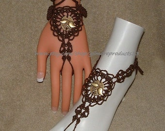 Brown Crochet Barefoot Sandals Anklet Hippie Yoga Boho Beachwear Gypsy Accessories Barefoot Sandals Crochet Sandals