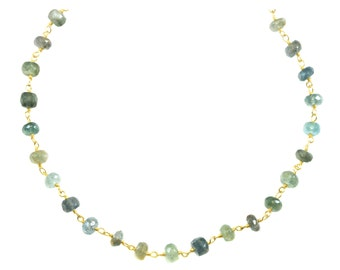 Moss Aquamarine Necklace Chain Link Beaded 14k gold filled Faceted  18 19 Inches Aqua Blue Green Natural Earthy Stones 5mm Beaded