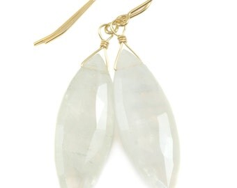 Rainbow Blue Moonstone Earrings 14k Gold Filled Faceted Large Marquise Briolette Teardrop