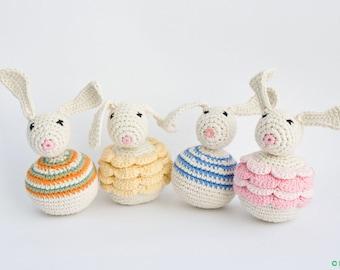 Easter Bunny Baby Rattle - organic baby toy, crochet bunny, sensory toy, Easter gift - FrejaToys