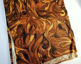 Vintage Everfast Fabrics Brown Swirl Paisley Mod Everglaze 54 Inch Wide 2 Yards