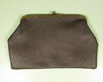 Black Leather Clutch - Vintage Kiss Lock Coin Purse