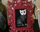 Blood Red Filigree Frame Evil Corpse Paint Thrash Cat Wall Mounted Art