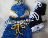 Crocheted St. Louis Blues Hat, Short Pants & Hockey Skates Booties Set These Are Made to Order
