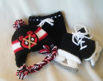 Crocheted Chicago Blackhawks Hat, Short Pants & Hockey Skates Booties Set These Are Made to Order