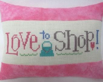 Love To Shop Pillow Cross Stitch Mini Shelf Pillow