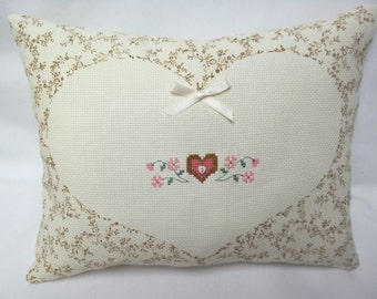 Heart And Flowers Cross Stitch Pillow