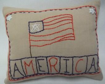 Flag Patriotic Embroidered Mini Pillow