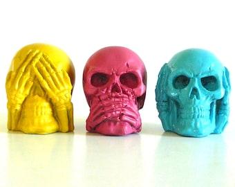 see no evil skull set, small skulls, pop art, goth, bright color, skull heads