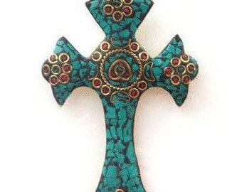 Large Brass Cross - Tibetan Cross - Cross with Turquoise, Red Coral and Brass Mosaic - Handmade in Nepal - Brass Cross