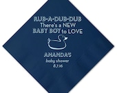 Rubber Duckie Personalized Baby Shower Napkins - Baby Boy Shower - Shower Napkins - Rubber Duck Shower