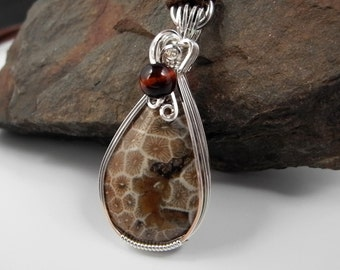 Michigan Petosky Stone Pendant, Coral Fossil Necklace Wire Wrapped, Michigan State Stone,  Fossilized Coral