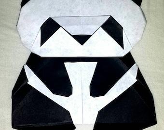 "5 Origami Panda Bears, Black & white, approximately 4""x3"", gift idea, party favor, card embellishment, tree ornament, desk buddy, birthday"