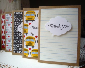teacher thank you cards,school thank you cards,back to school cards,school thank you cards,teacher appreciation cards, teacher cards,5 cards