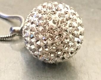 Crystal Ball Urn, Rhinestone Urn, Ball Urn, Urn Locket, Cremation Locket, Memory Locket, Cremation Jewelry, Rhinestone Cremation Urn