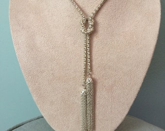 Laila Rowe Lariat Tassel Necklace with Popcorn Chain