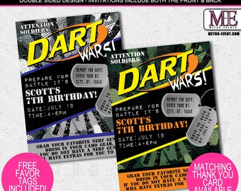 Nerf Inspired, Dart Wars Birthday Invitations