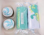 Baby Boy Gift Washcloth Cupcakes Gift Box Dinosaur