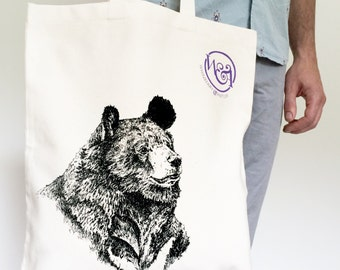 Moon Bear Canvas Tote Bag