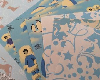 Winter Scrapbook Paper Pack, 6x6 Polar Bear, Penguin, Ice Skates Vintage Scrapbook Paper Stack - 26 Sheets