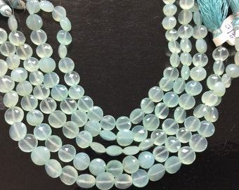 Aqua Chalcedony Coins Faceted