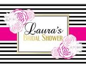 Pink Floral Printable Backdrop-Birthday/Bridal Shower Table Backdrop Banner-Welcome Sign-DIGITAL DOWNLOAD