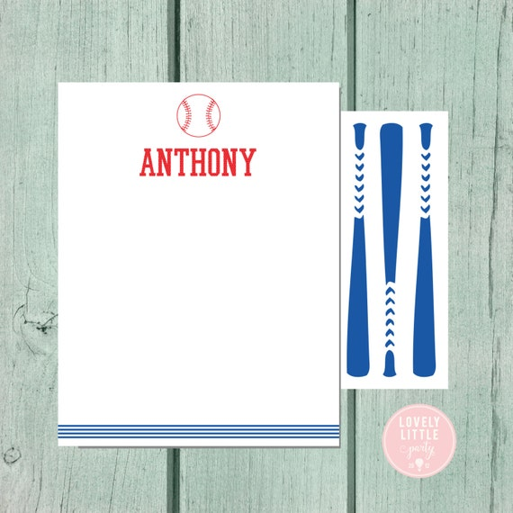Baseball Stationery, Kids Stationery, Baseball Personalized Notecards, Kids notecards, Boy Birthday Gift, Boys Gift - Lovely Little Party