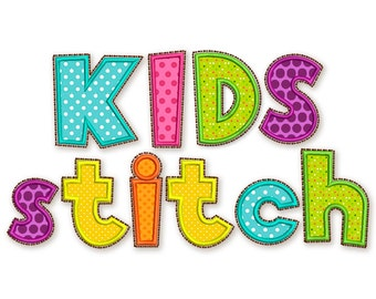 BX font included! Kids Stitch Applique Alphabet Font Machine Embroidery Design 5 sizes AL024