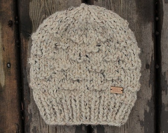 Chunky slouchy knit hat in a natural oatmeal color