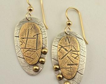 Dangle Earrings - Mixed Metal Earrings - Artisan Earrings - Sheild Earrings